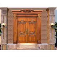 Portas de madeira maciça de madeira de design de porta de entrada principal PHIPULO