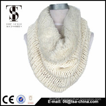 Acrylic with fur fashion lady neck scarf types fur loop scarf