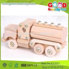 2015 baratos populares de madera de combustible del tanque de coches-montar camiones de juguete de madera