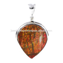 Beautiful Ammolite Gemstone 925 Sterling Silver Pendant Jewelry