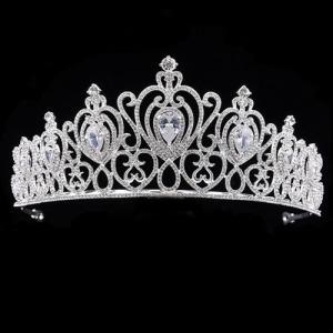 Aleación de cristal del concurso de coronas de la reina en forma de corazón