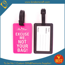 Hot Sale Pink Soft PVC Luggage Tag for Promotion
