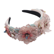 Bandeau cheveux tali rambut Hyperbolic Sponge Lace Flower Designer Headband Luxury Hair Accessories Fashion Crystal Baroque Hairband Party Feast Show Gift