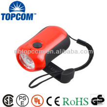 High quality and high power 3 modes hand crank generator flashlight