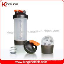 Garrafa protetora de proteína de plástico de 600ml com 2 compartimentos (KL-7029)