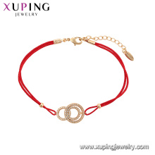 75569 Xuping Jewelry Hot Sale Women Elegant red rope fashion Bracelet