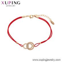 75569 Xuping Jóias Hot Sale Mulheres Elegante corda vermelha pulseira de moda