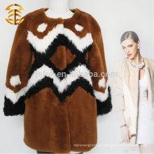 Arte da arte geométrica popular Pele de coelho real das mulheres com casaco de pele de carneiro