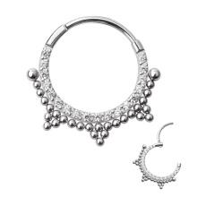 ASTM F136 Titanium Cubic Zircon Beaded Clicker Nose Hoop Ring Septum Piercing