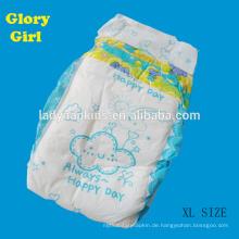 Super weiche Baumwolle weiß PE-Folie Einweg-Babywindeln mit XL-Größe