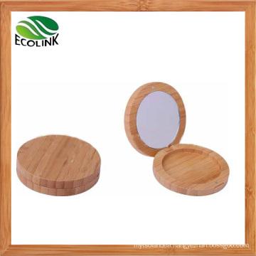 Bamboo Powder Compact Powder Box with Mirror