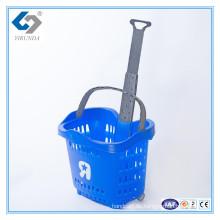 Rollender Plastikeinkaufskorb 55L mit Teleskopgriffen für Großverkauf