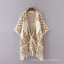 Womens Cashmere Feel Gestrickte Jacquard Printing Fancy Cape Stola Poncho Schal (SP622)
