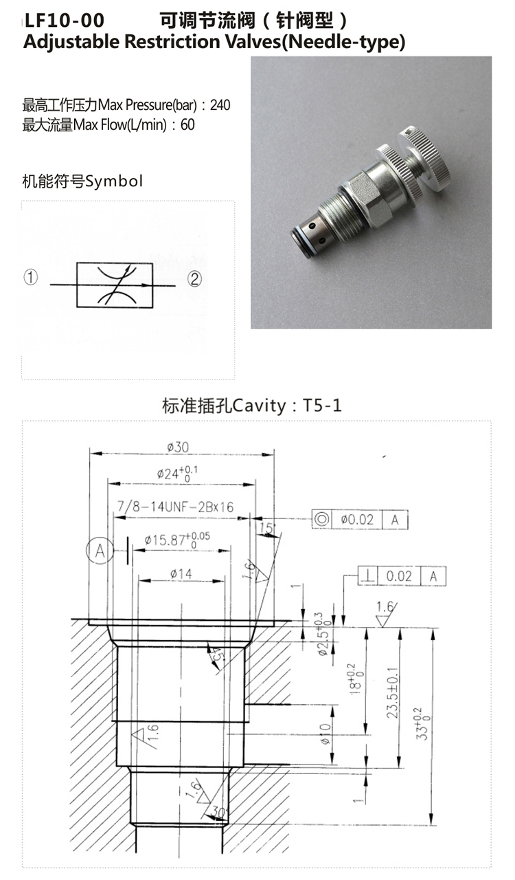 Direct Acting Poppet / Needle Type Hydraulic Cartridge Valve