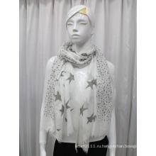 Дамы Звезда печатных хлопок вуаль шарф (YKY1083)