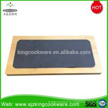 Placa retangular do queijo da ardósia da pedra natural ajustada com bandeja de madeira