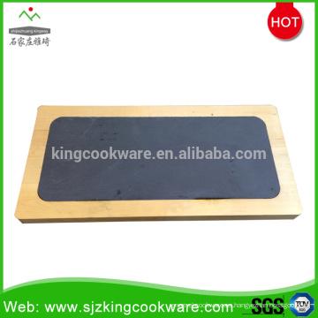 Juego de tablas de queso de pizarra de piedra natural rectangular con bandeja de madera