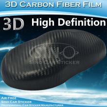 Sıcak Satılık yüksek çözünürlüklü Karbon Fiber araba sarın siyah 3D Film