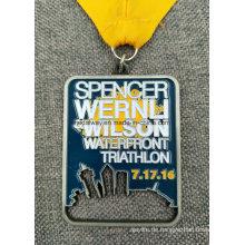 Benutzerdefinierte Sportveranstaltung Antik Messing vernickelt Lanyard Verfügbare Medaille