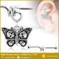316L Surgical Steel Skulls Dangle Butterfly Barbell Ear Jewelry