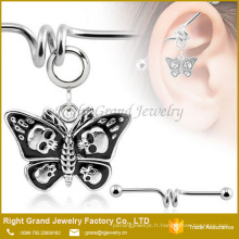 Crânes en acier chirurgical 316L Dangle Butterfly Barbell bijoux de l'oreille