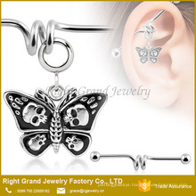 316L Surgical Steel Skulls Dangle Butterfly Barbell Ear Jewelry