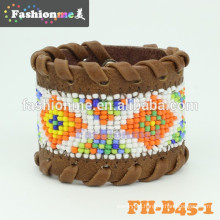 Good quality cheap seed bead pattern leather bracelets
