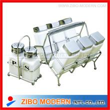 Белый набор посуды из 6pc банка пряность / бутылка с проволочной стойкой (GA3008)
