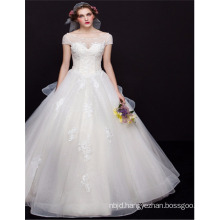 2017 Suzhou Sexy High Quality Short Sleeve See Through Ball Gown Wedding Dress