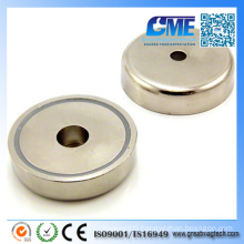 N42 D60X14.5mmxm8 Hole Neodymium Pot Permanent Magnet