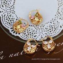 Boucle d'oreille élégante en zircon 18k en or (21960)