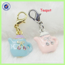 Customized Gold Plated Enamel 3D Teapot Shaped Charm Wholesale