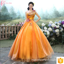 Latest Design Bride Gorgeous Light Orange Appliqued Strapless Floor Length Tulle Puffy Ball Gown Evening Dress