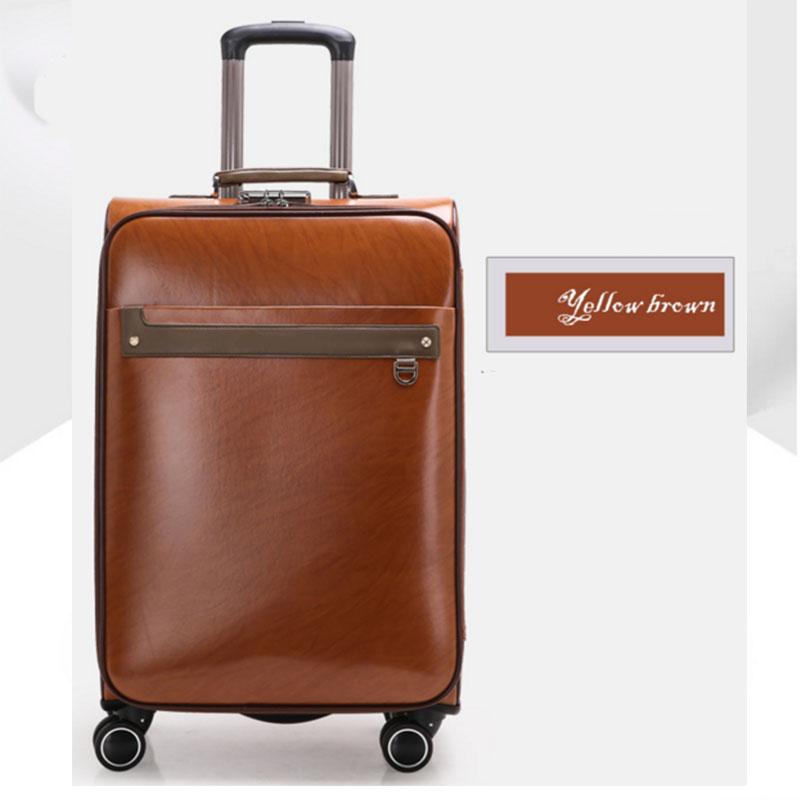 Yellow brown pu luggage