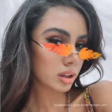 2020 sunglasses women flame rectangular fashion shopping travel metal frameless shade designer   7701