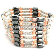 Magnetic Orange Pearl Beaded wrap Bracelets & Necklace 36""