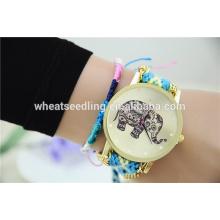 Boa reputação china taobao colorido elefante nylon relógio pulseira de liga de relógio barato