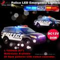 Luces de emergencia con luces de advertencia, barra de luces 100w sirena Parlante de iluminación Estroboscópico Vehículo Tronco de luces Barra de luces