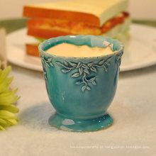 Castiçais cerâmicos decorativos da coluna do casamento vintage dos efeitos Crackle azuis