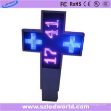P20 extérieur signe double de croix de pharmacie latérale LED