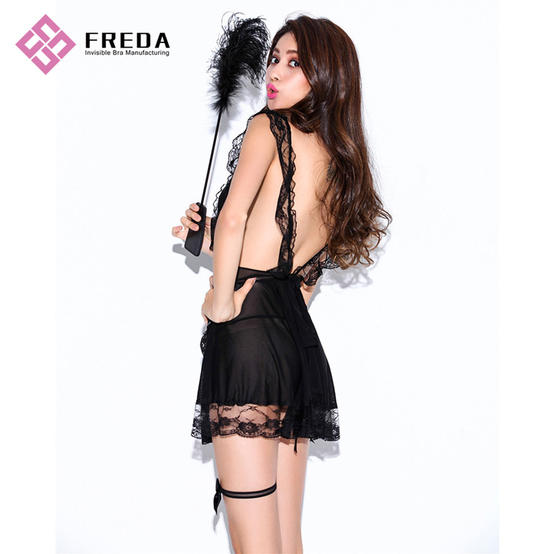 Seductive Ladies Lingerie Dress With Maid Feather Duster