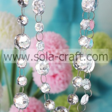 Round White 25MM Diamond Hanging Prism Faux Acrylic Clear Octagon Beaded Curtain