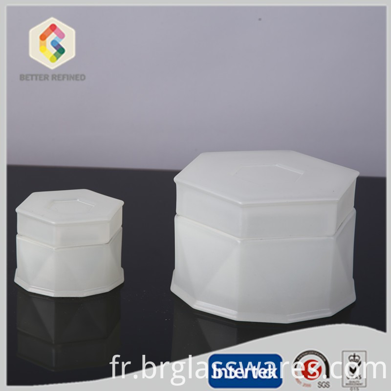 frosted white color glass candle jars