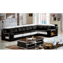 Black China Leather Sofa for Living Room Furniture (3215B)