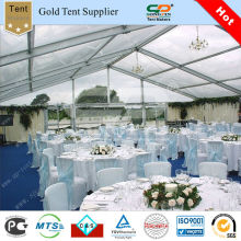 Big clear wedding tent with white lining decoraton for wedding party