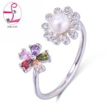 Moda de alta qualidade anel aberto anel ajustável pérola anel de jóias
