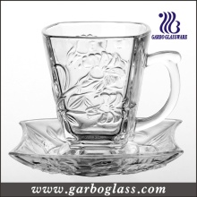 High Quality Glass Tea Cup & Saucer Set (TZ-GB09D1305LB)