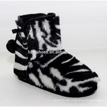 Schwarz-Weiß-Zebra-Streifen gemalt billig Schnee Stiefel Frauen weichen Schuhe