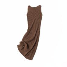 weibliche sleeveless super lange Haarweste Rock gestricktes Kleid des Kleides reizvolle Abnutzung 100% langer Kaschmirrock