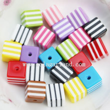 Fashion Square Cube Zebra Striped Resin Spacer Beads